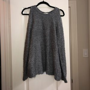 Cupio grey long sleeve sweater w/ open back